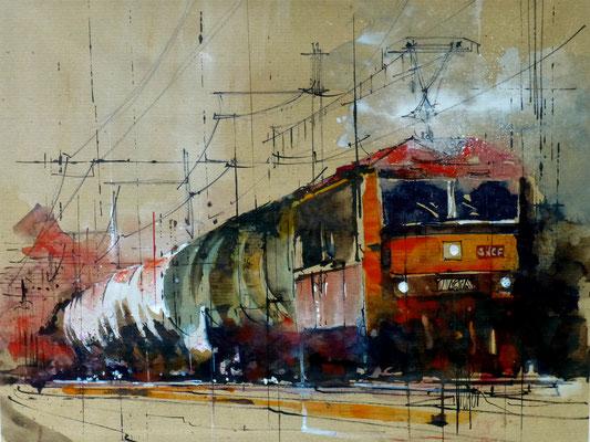 320 Le train rouge. Aquarelle et brou de noix 40 x 50. 2014