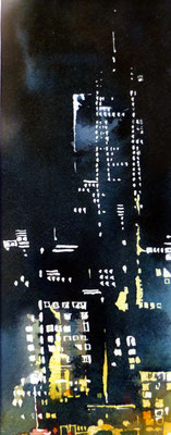 454  Nights in the world NYC 02 Aquarelle et encre de chine 23 x 50