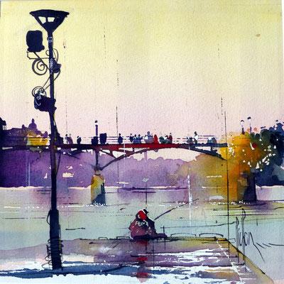 417 Paris L'homme à la capuche rouge Aquarelle collée sur médium 30 x 30 - 40 x 40