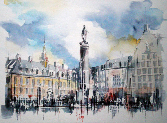 137 Lille Grand Place 02 - Aquarelle 40 x 50