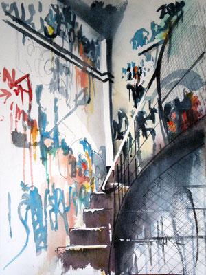 193 Graffitis dans la cage d'esclairer B - Aquarelle 31 x 41