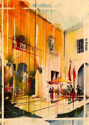 267 Le chateau de Bagnols:la cour intérieure. Aquarelle 30.5 x 45.5. 2012