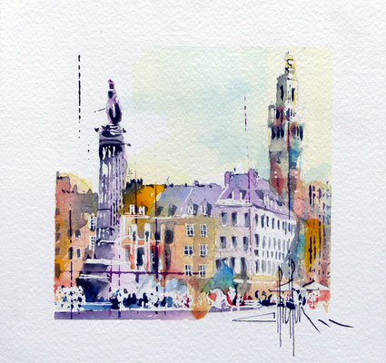 431 Lille Grd Place V Aquarelle 20 x 20