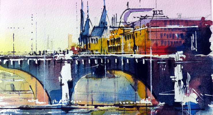 418 Paris Les ponts III Aquarelle 12 x 22 - 20 x 30