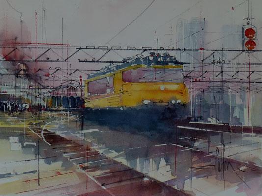 298 Le rail urbain. Aquarelle 40 x 50. 2013