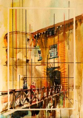 274 Le chateau de Bagnols 05: Entrée latérale. Aquarelle 35.5 x 51. 2012