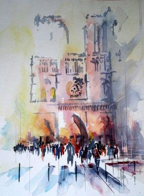 171 Paris: Notre Dame 03 - Aquarelle 36 x 48