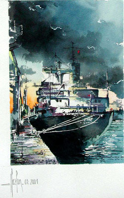 23 Cargo au  Havre - 2000 - Aquarelle 30 x 40