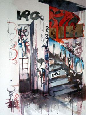 194 Graffitis dans la cage d'esclairer C - Aquarelle 31 x 41