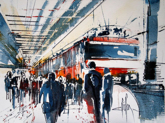 220 Un train en gare. Aquarelle 30 x 40. 2011