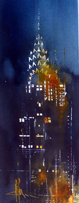 454  Nights in the world NYC 02 Aquarelle et encre de chine 18 x 24