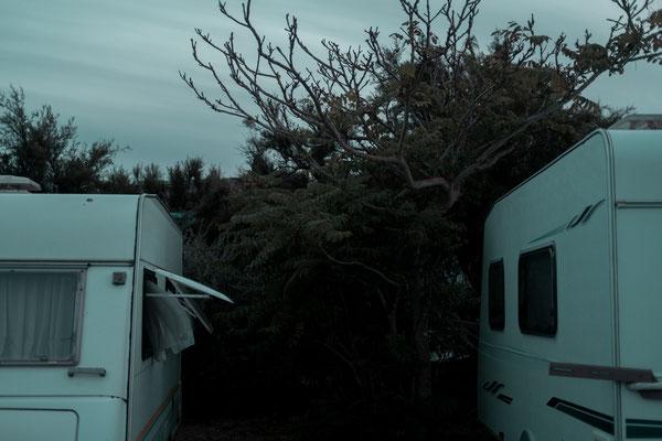 Wohnwagen Szenerie auf der Il de Re bei Phare des Baleines