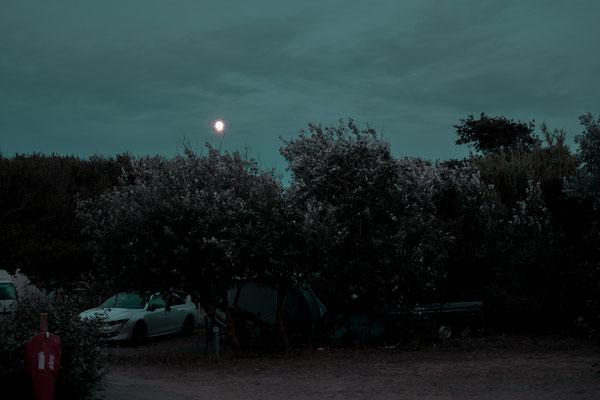 Blaue Stunde auf dem Campingplatz auf der Il de Re bei Phare des Baleines