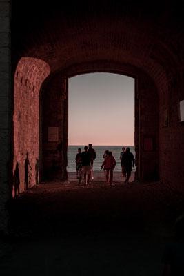 Zugang vom Campingplatz zum Meer bei Phare des Baleines auf der Il de Re