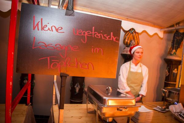 Süß gestaltetes Schild für vegetarische Lasagne