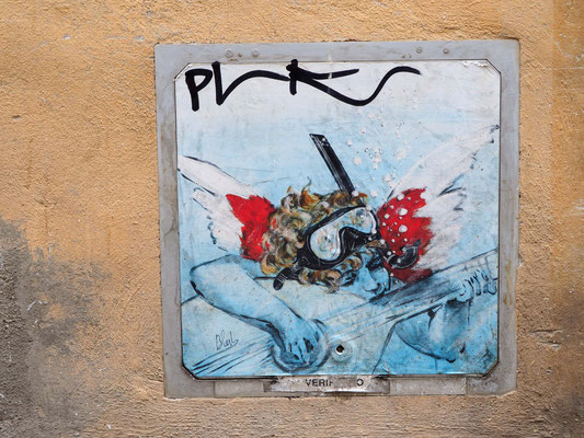 Streetart-Künstler blub, gesehen in Arezzo, Italien