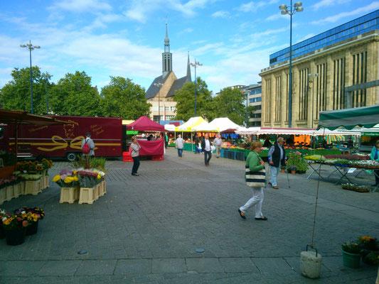 ドルトムント駅から歩いて10分くらいの広場で開催されていたマーケット。お昼に屋台で色々食べていたら、ミツバチがたかってきました…。