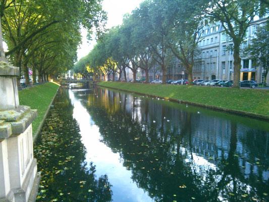 おしゃれな感じの川沿いの並木道。