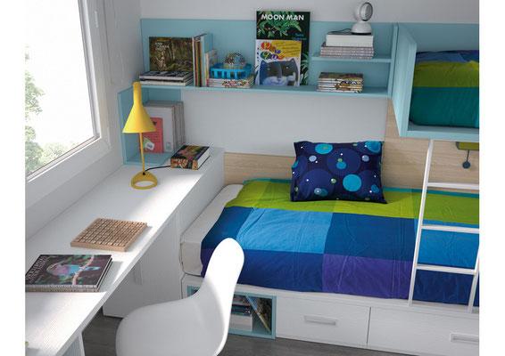 """Una de las ventajas a la hora de componer una planta en un dormitorio juvenil es poder hacer las encimeras en cualquier medida y forma, ya que permiten ser curvadas, hechas en """"L"""" o recortar cualquier diseño"""