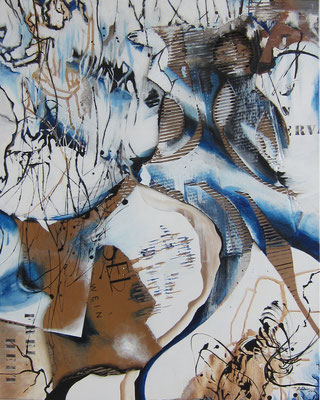 losgelöst, Acryl-Collage, 2018, 100x80