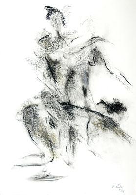 in Bewegung, Kohle-Ölpastell, 2007,59x42