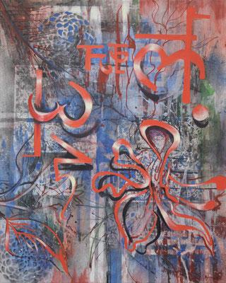 Khushia-Freude, Acryl-Öl, 2016, 100x80
