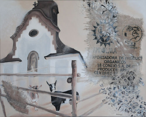 miteinander, Acryl-Collage, 2019, 80x100