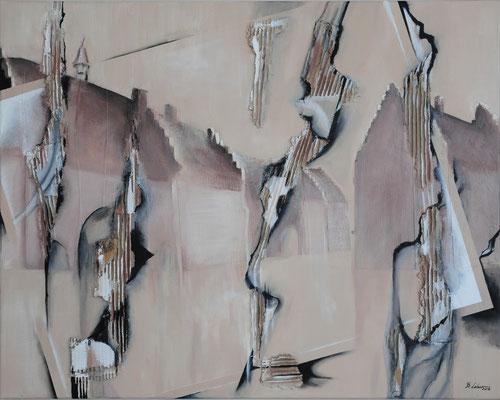 Wiederaufbau (nach dem Brand von 1921), Acryl-Collage, 2019, 80x100