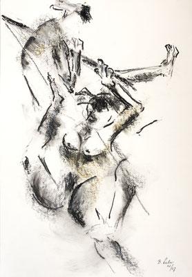 Am Trapez, Kohle-Ölpastell, 2007, 59x42