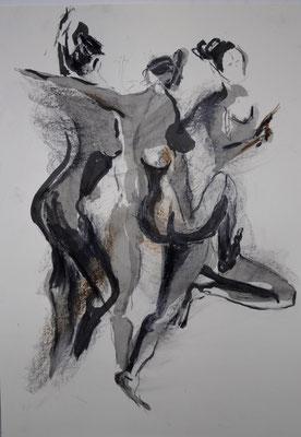 vorwärts, Kohle-Tusche-Ölpastell, 2007, 59x42