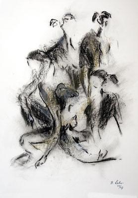 wer bin ich, Kohle-Ölpastell, 2007, 59x42