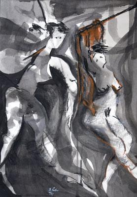 Nachtgedanken, Tusche-Ölpastell, 2007, 59x42