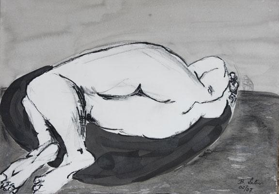 Rück-Besinnung, Kohle-Tusche, 2007, 30x42