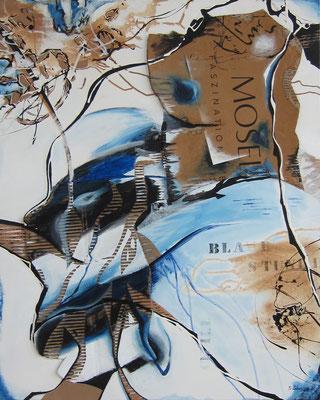 blaue Stunde, Acryl-Collage, 2018, 100x80