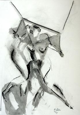Begegnung, Kohle-Tusche-Ölpastell, 2007, 59x42