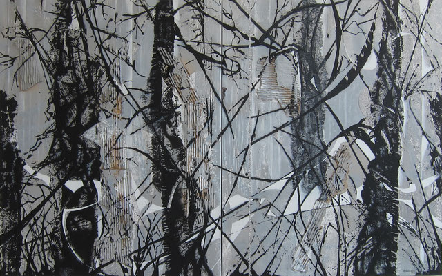Mondnacht, Acryl-Collage, 2019, Diptychon 100x160