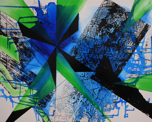 Blues, Acryl-Tusche, 2016, 80x100