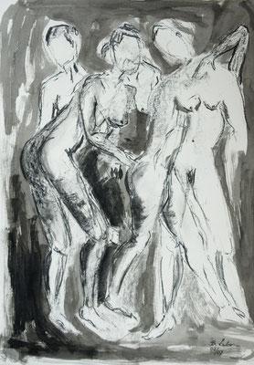vor dem Auftritt,  Kohle-Tusche-Ölpastell, 2007, 59x42