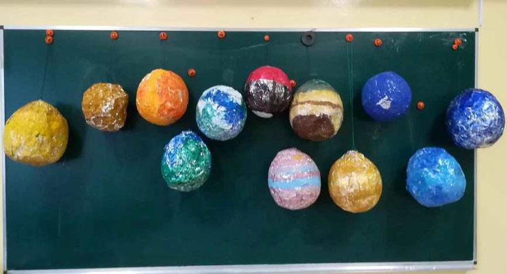 Visi  ketvirtokų pagaminti planetų modeliai.