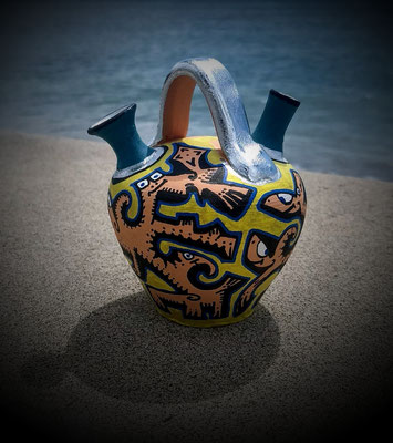 petit pot en terre cuite peint aux Açores / 2018