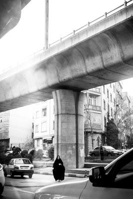 Crossing street in Tehran.