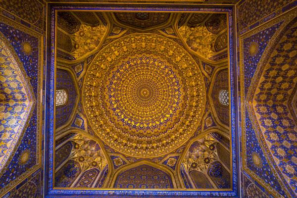 Dome of Tilya-Kori-Madrasa in Samarkand.