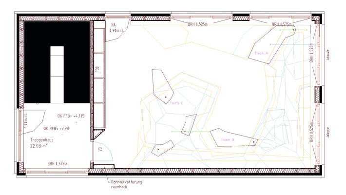 Grundrissplan mit Tischen