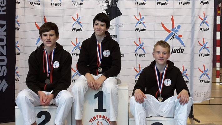 Robin 1er -42kg , Pierre 2ème -50kg, Lucas 3ème -46kg