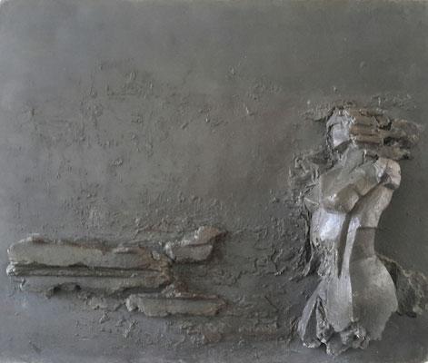 Kairos - aluminiumcement - 40 x 23 cm