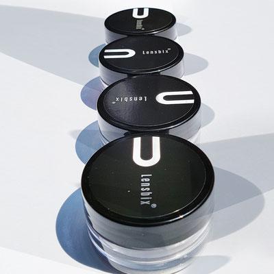 Purist black-and-more-mehrfarbig für Glamour-Silikon-Circle-lensens. 3-2-1-Prinzip für all deine Linsen. Linsen-Behälter mit WOW-Effect.