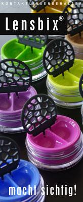 Markenartikel Lensbix / Kontaktlinsenbehälter / Kontaktlinsenbox / Behälter fürKontaktlinsenaufbewahrung  / Farbkollektion  / Made in Germany