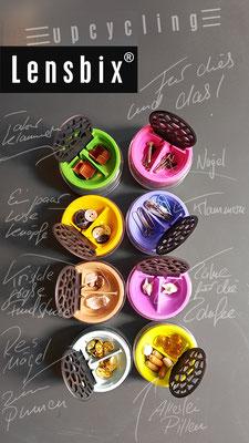 lensbix upcycling -  Dosen für die Samelleidenschaft   /  Kontaktlinsenbehälter / Kontaktlinsenbox / Box für Kontaktlinsenaufbewahrung  / Kontaktlinsendose / Kontaktlinsen-behaelter