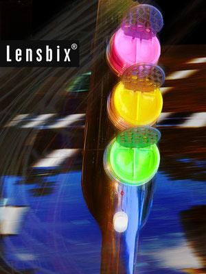 Lensbix  zweimal hinsehen  - fahr ab auf der bunten Welle! / Kontaktlinsenbehälter / Kontaktlinsenbox / Box für Kontaktlinsenaufbewahrung