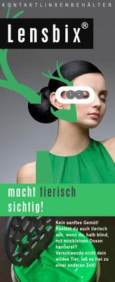 Lensbix character -  grün / Marke  Lensbix / Kontaktlinsenbehälter / Kontaktlinsenbox / Behälter für Kontaktlinsenreinigung